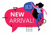 New Arrival Banner Ads Template. Modern Faceless Female Caracter Jumping In The Air With New Arrival poster