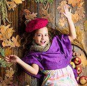 Kid Girl Bright Soft Knitted Hat Enjoy Autumn. Autumn Fashion Hat Accessory. Fashion Trend Fall Seas poster
