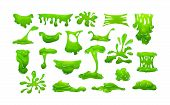 Realistic Green Slime In Shape Of Dripping Blob Splashes Smudges poster
