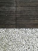 White Pebble Stone And Wood. Gravel Is A Loose Aggregation Of Rock Fragments. Gravel Is Classified B poster