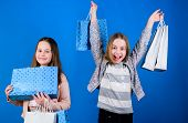 Small Girls With Shopping Bags. Sisterhood Family. Savings On Purchases. Kid Fashion. Blue Backdrop. poster