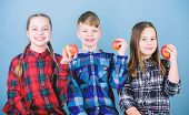 School Snack Time. Having Tasty Snack. Boy And Girls Friends Eat Apple Snack. Teens With Healthy Sna poster