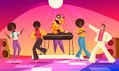 Retro Disco Party Fun Background With People Dancing Flat Vector Illustration poster