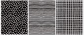 Hand Drawn Childish Style Vector Pattern Set. White Horizontal Stripes On A Black Background. White  poster