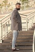 Rise Higher. Stylish Casual Outfit Spring Season. Menswear And Male Fashion Concept. Man Bearded Hip poster