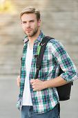 College Education. College Life. Modern Student. College Student With Backpack Urban Background. Han poster