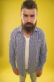 Why So Serious. Beard Fashion And Barber Concept. Man Bearded Hipster Beard Yellow Background. Barbe poster