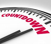 image of count down  - A white clock with hands pointing to the word Countdown - JPG