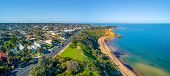 Aerial Landscape Of Beach Road And Black Rock Suburb On Beautiful Port Phillip Bay Coastline In Melb poster