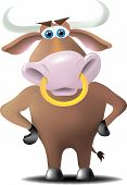 pic of nose ring  - A bull with a ring in his nose and hands on hips with a discerning look on his face - JPG