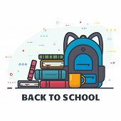 Back To School Banner. School Backpack With Pile Of Book. Backpack For Student And Education. Educat poster
