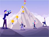 Mountain Peak Financial Goal Concept. Cartoon People Achievement Challenge Vector Illustration. Man  poster