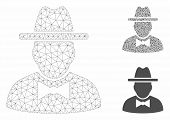 Mesh Spy Model With Triangle Mosaic Icon. Wire Frame Triangular Mesh Of Spy. Vector Composition Of T poster