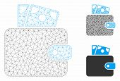 Mesh Wallet Model With Triangle Mosaic Icon. Wire Carcass Polygonal Mesh Of Wallet. Vector Mosaic Of poster