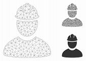 Mesh Worker Model With Triangle Mosaic Icon. Wire Frame Polygonal Mesh Of Worker. Vector Mosaic Of T poster