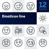 Emoticon Line Icons. Set Of Line Icons On White Background. Laugh, Cry, Emotion. Internet Concept. V poster
