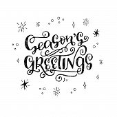 Seasons Greetings Hand Lettering Phrase poster
