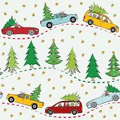 Funky Multicolor Winter Landscape With Cartoon Reindeer, Cars, Christmas Trees And Stars. Seamless V poster