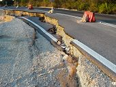 image of landslide  - broken road by an earthquake or landslide - JPG