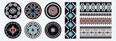 Set Of Ethnic Decorative Elements. Round Ornament Patterns And Borders. Tribal Rugs With Geometric D poster