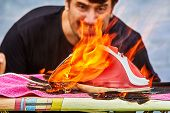 The Man Got Scared And Alarmed When His Clothes Iron Ignited On An Ironing Board. A High Flame Led T poster
