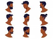 Set Of Men Hairstyles With Beards And Mustache Isolated On White Background. Collection Contemporary poster