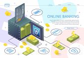 Open Safe With Stack Banknotes. Online Banking. Financial Services. Use Mobile Banking Application.  poster