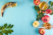 Rosh Hashanah - Jewish New Year Holiday Concept. Traditional Symbols: Honey Jar And Fresh Apples Wit poster