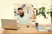Hate Office Routine. Man Bearded Guy Headphones Office Swing Hammer On Computer. Slow Internet Conne poster