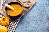 Pumpkin Soup For Halloween And Thanksgiving Party. Harvest And Fall Autumn Season. Food For Winter H poster