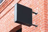 Blank Black Square Store Signboard Mockup. Empty Shop Street Sign, Signage On The Wall. , 3d Renderi poster