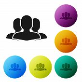 Black Users Group Icon Isolated On White Background. Group Of People Icon. Business Avatar Symbol Us poster