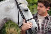 stock photo of bridle  - Teen stroking horse - JPG