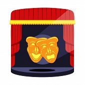 Gold Theatrical Masks. Comedy And Tragedy. Comedy And Tragedy Theater Masks With Blue And Red Ribbon poster