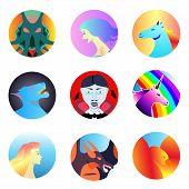 Fantastic Beasts Creatures. Set Of Mythical,mythological Creatures,animals.flat Cartoon Vector Illus poster