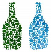 Wine Bottle Mosaics Of Chat Clouds And People Symbols. Vector Mosaic In Blue Color Tints. Persons An poster