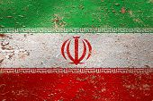 National Flag Of Iran  On Old Peeling Wall Background.the Concept Of National Pride And Symbol Of Th poster
