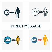 Direct Message Icon Set. Four Elements In Diferent Styles From Advertising Icons Collection. Creativ poster