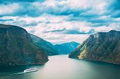 Sogn And Fjordane Fjord, Norway. Tourist Ship Ferry Boat Liner Floating In Amazing Fjord Sogn Og Fjo poster