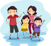 picture of dancing rain  - Illustration of a Family Playing in the Rain - JPG