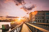 Stockholm, Sweden. Skeppsholmsbron - Skeppsholm Bridge. Famous Popular Place Landmark Destination. S poster