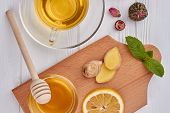 Cup Of Tea With Lemon And Ginger On Wooden Table. A Glass Cup Of Green Natural Tea With Ginger, Lemo poster