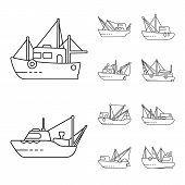 Vector Illustration Of Commercial And Vessel Logo. Collection Of Commercial And Speedboat Stock Symb poster