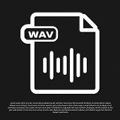 Black Wav File Document. Download Wav Button Icon Isolated On Black Background. Wav Waveform Audio F poster
