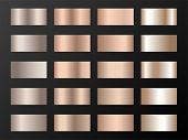 Vector Mega Set Of Copper Bronze Gold Gradients. Metallic Foil Texture Trendy Gradient Templates. Sh poster