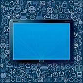 Постер, плакат: Планшетный компьютер с облаком программы и веб иконки