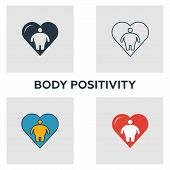 Body Positivity Icon Set. Four Elements In Diferent Styles From Visual Device Icons Collection. Crea poster