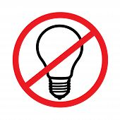Prohibition Sign Of Electrical Appliances. Prohibition Sign Red Color Of Electrical Appliances poster