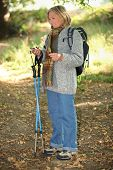 picture of old lady  - senior lady on a mountain hike - JPG