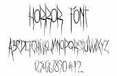 Horror Font, Alphabet, Numbers And Punctuation Marks. Horror Font For T-shirt And Merch. Trendy Alph poster